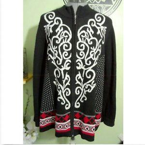 48755fdb67 CJ BANKS Cardigan Sweater 1X Red Black fleur ZipUp